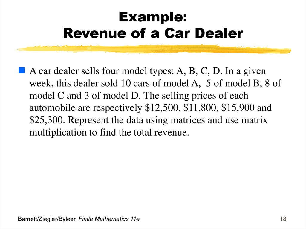 Example: Revenue of a Car Dealer