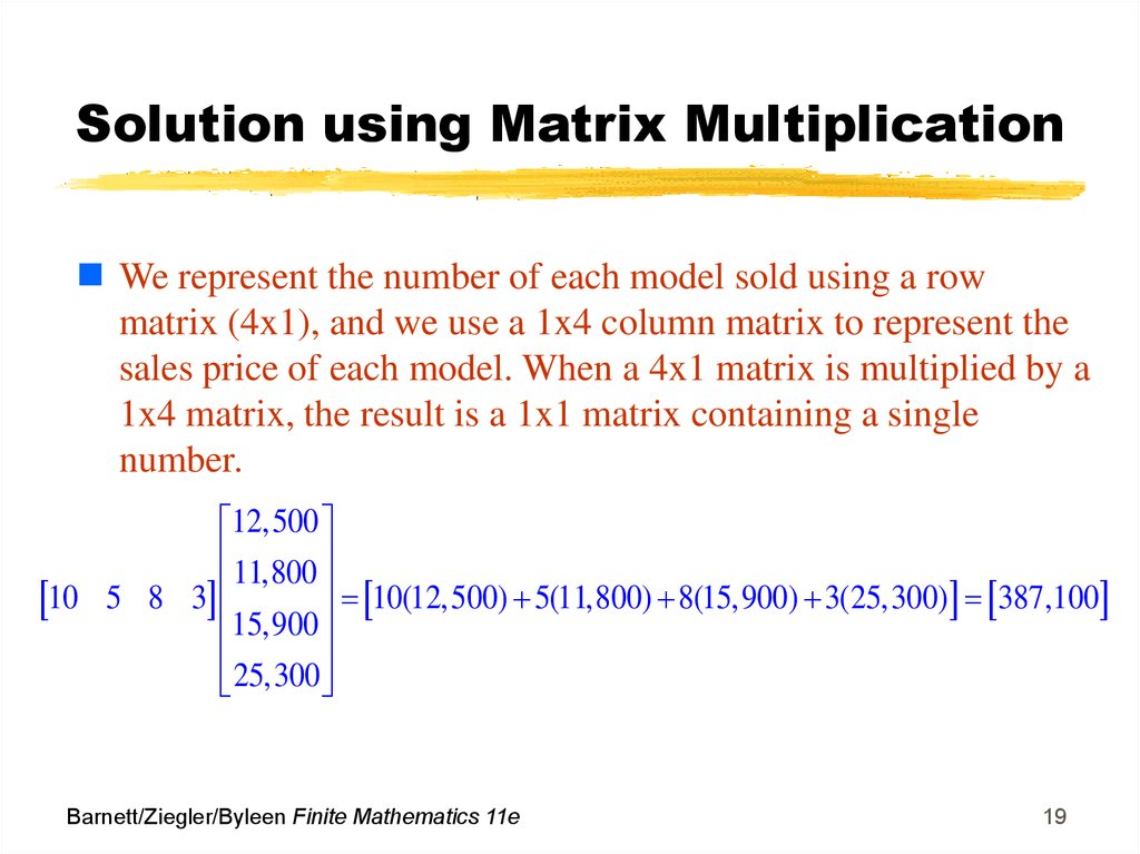 Solution using Matrix Multiplication