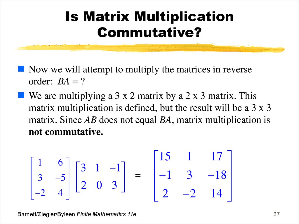 Is Matrix Multiplication Commutative?