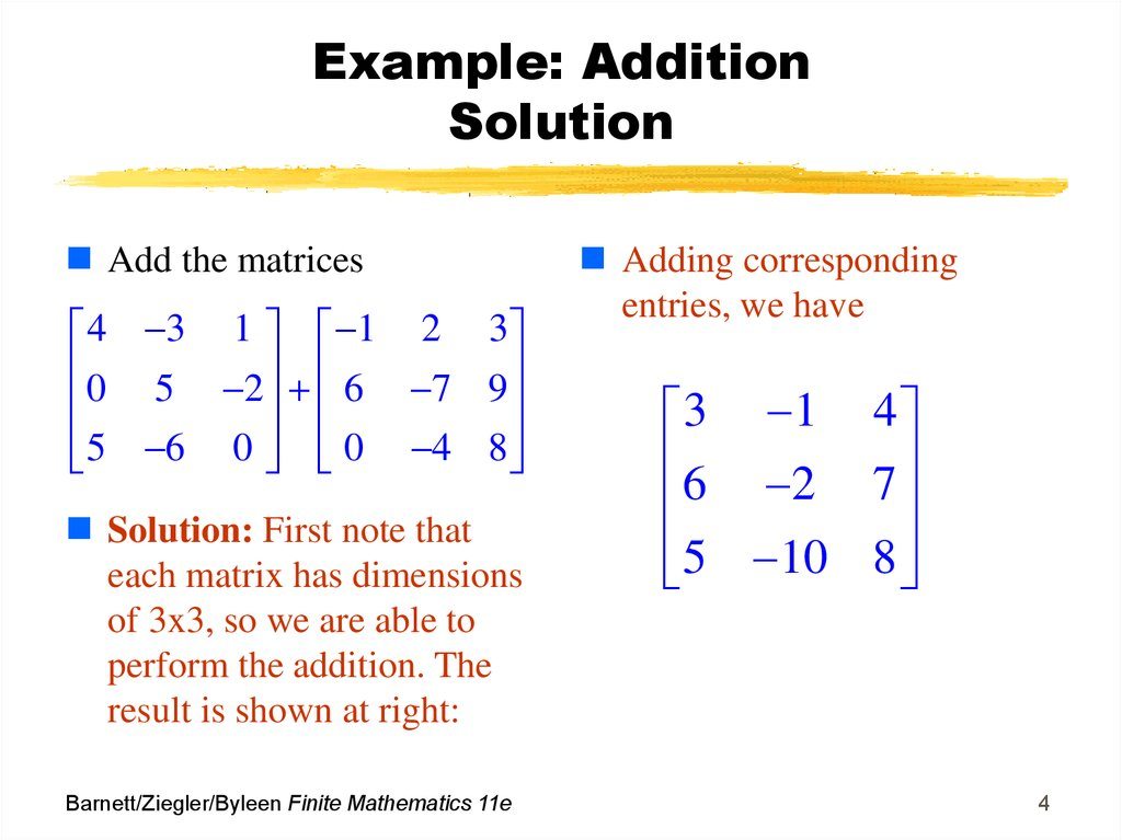 Example: Addition Solution