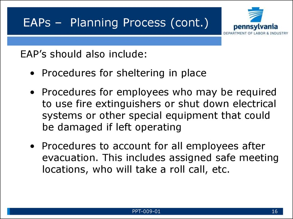 EAPs – Planning Process (cont.)