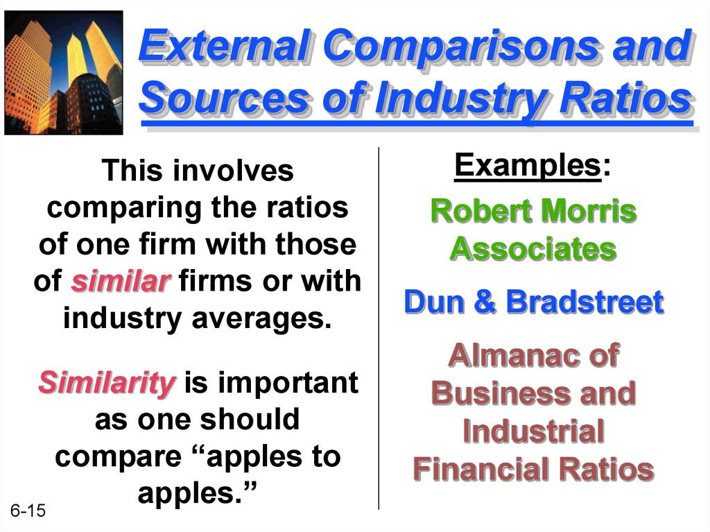 External Comparisons and Sources of Industry Ratios