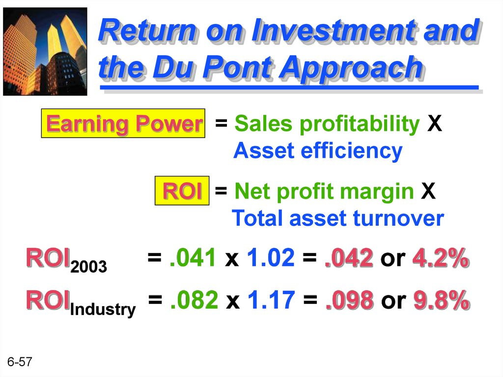 Return on Investment and the Du Pont Approach