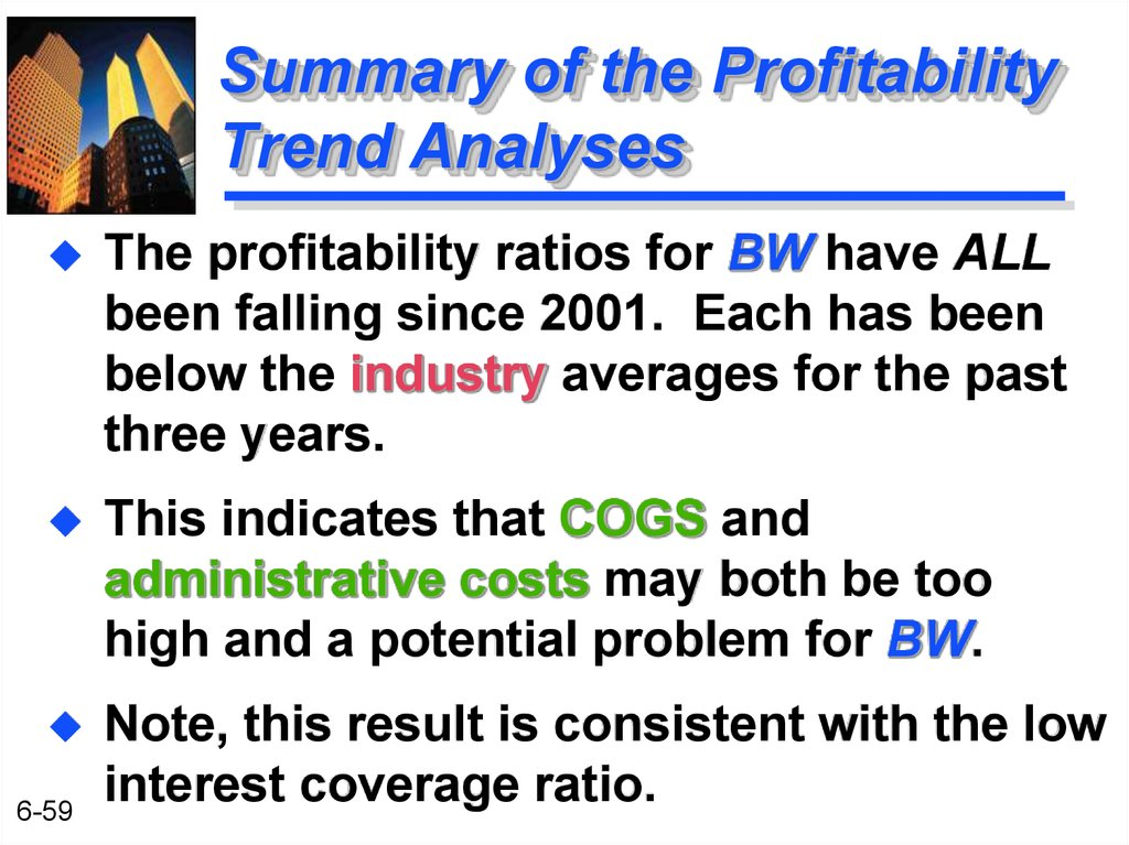 Summary of the Profitability Trend Analyses