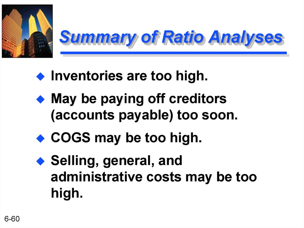 Summary of Ratio Analyses