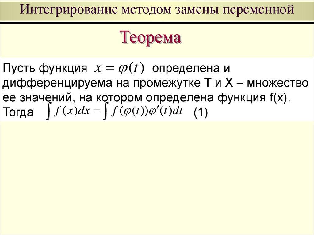 Интегралы метод замены переменной