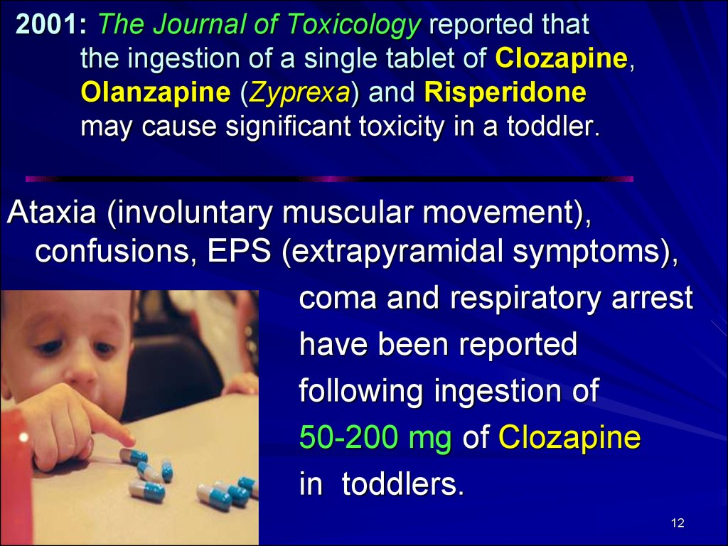 2001: The Journal of Toxicology reported that the ingestion of a single tablet of Clozapine, Olanzapine (Zyprexa) and Risperidone may cause significant toxicity in a toddler.