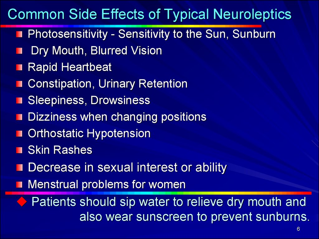 Common Side Effects of Typical Neuroleptics