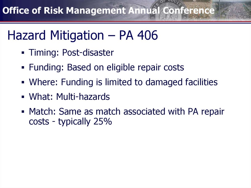 hazard mitigation Hazard mitigation plans are prepared and adopted by communities with the  primary purpose of identifying, assessing, and reducing the long-term risk to life  and.