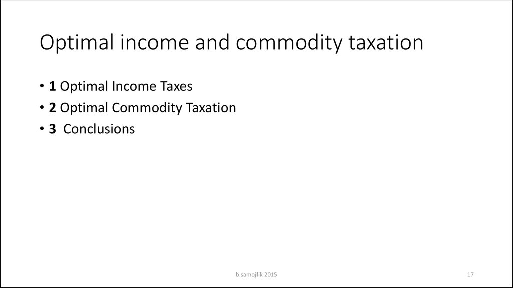 Optimal income and commodity taxation