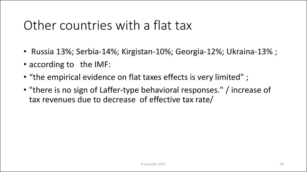 Other countries with a flat tax