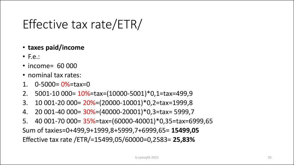 Effective tax rate/ETR/