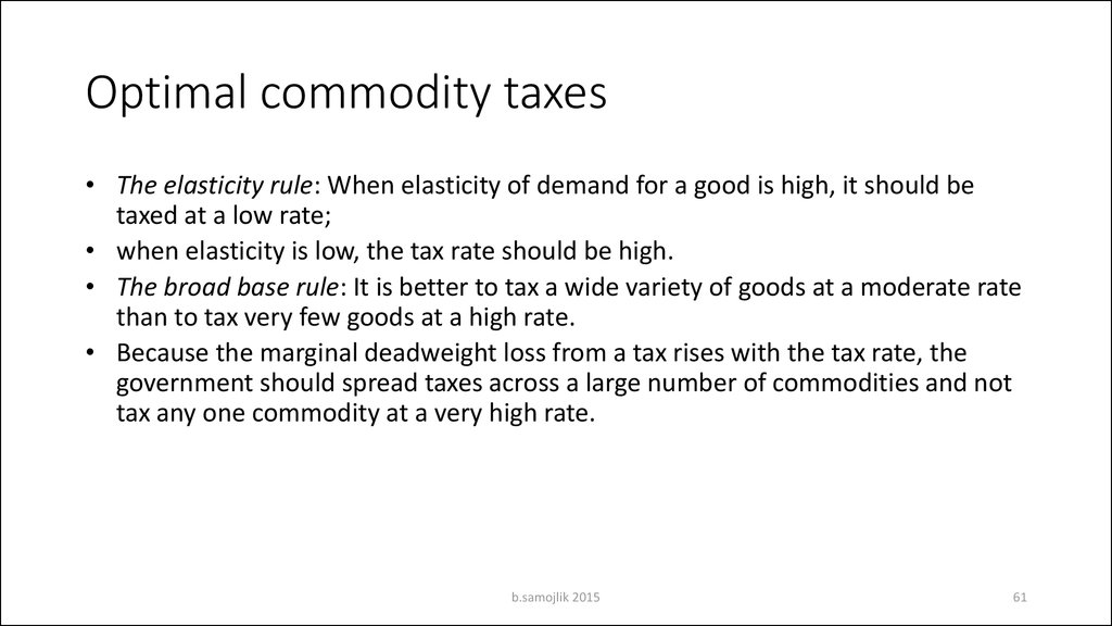 Optimal commodity taxes