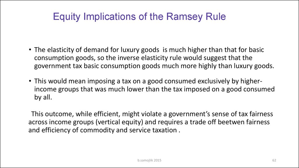 Equity Implications of the Ramsey Rule