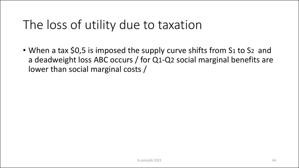The loss of utility due to taxation