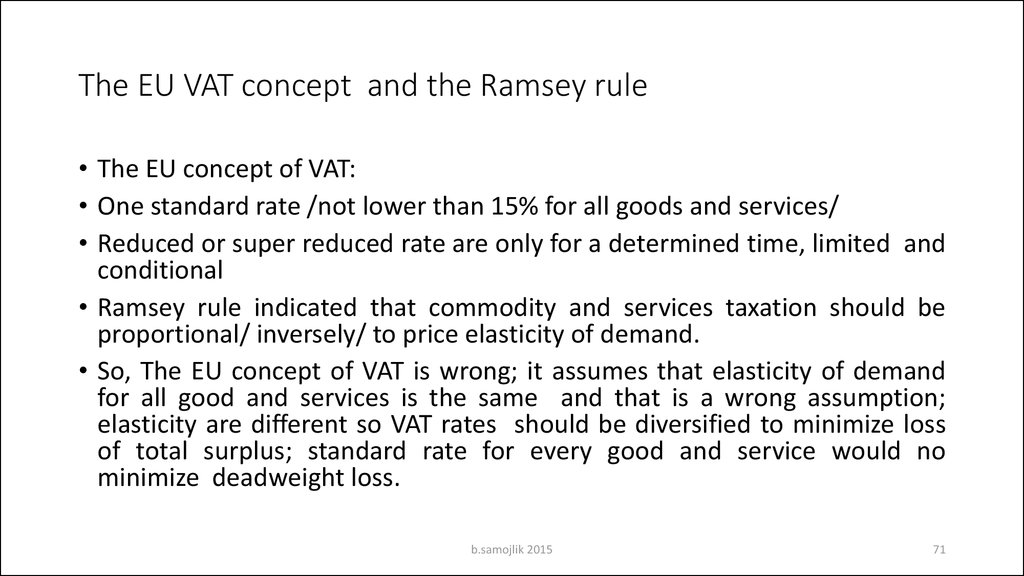 The EU VAT concept and the Ramsey rule