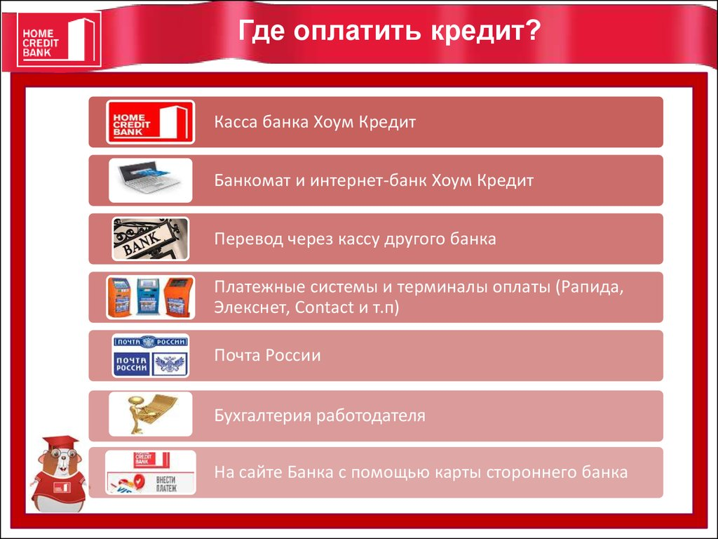 Оплачивать кредит без комиссии картой любого банка, не посещая отделений банка Проверять.