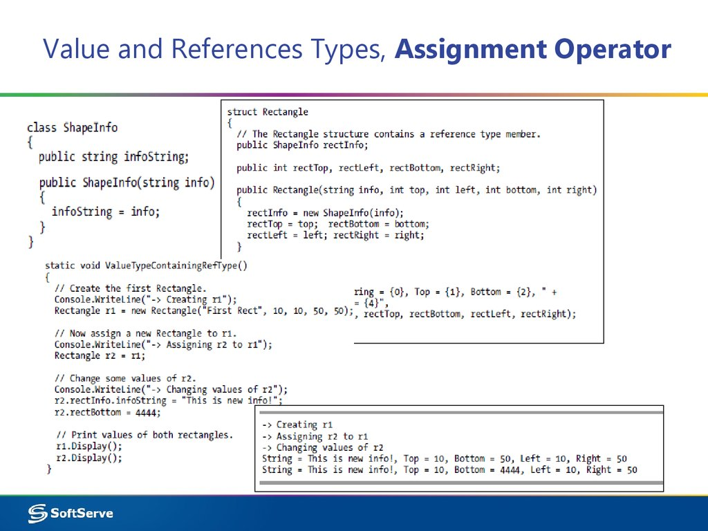 Value and References Types, Assignment Operator