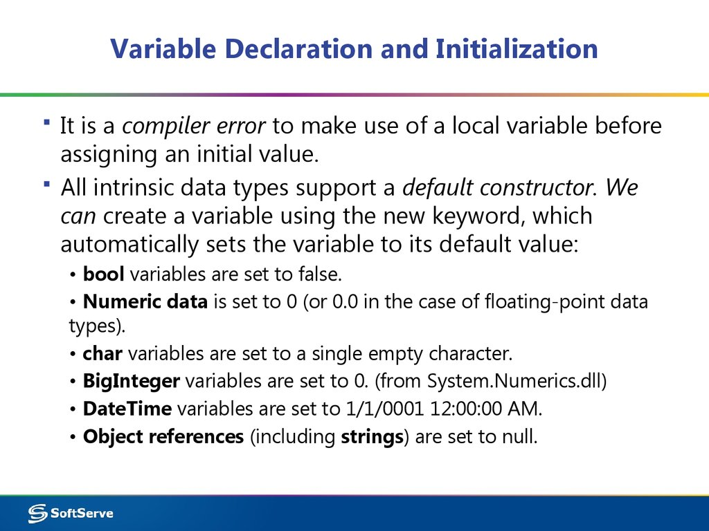 Variable Declaration and Initialization