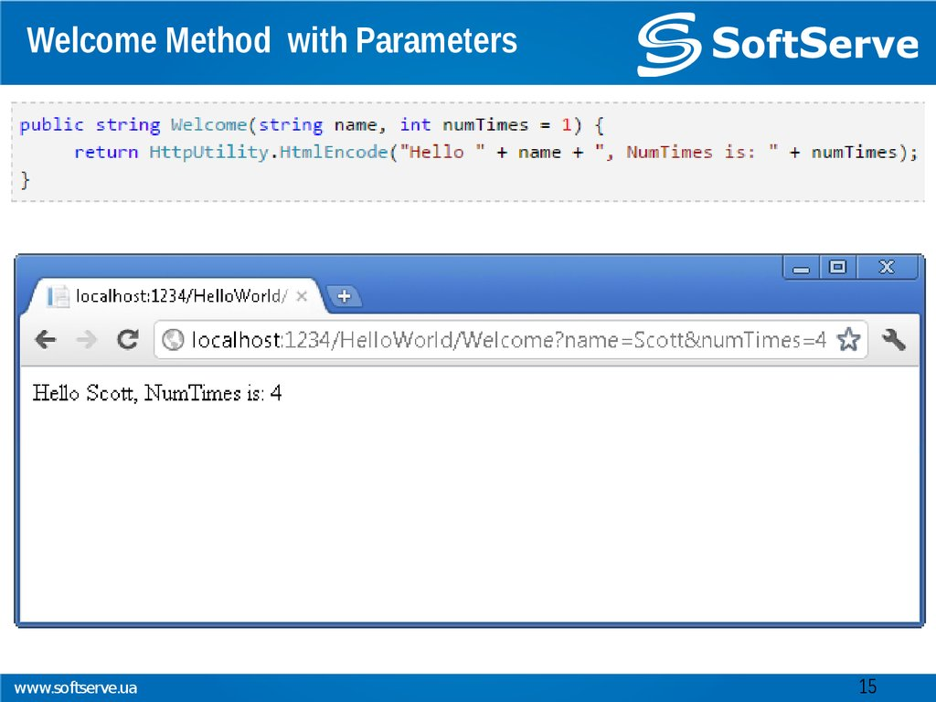Welcome Method with Parameters