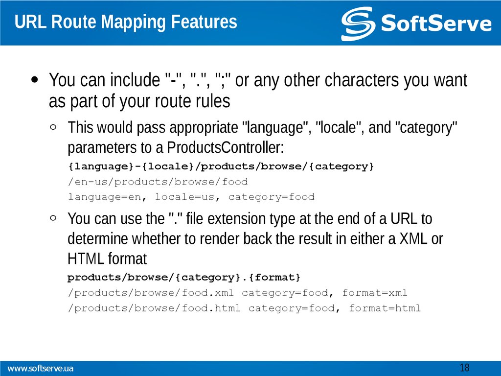 URL Route Mapping Features