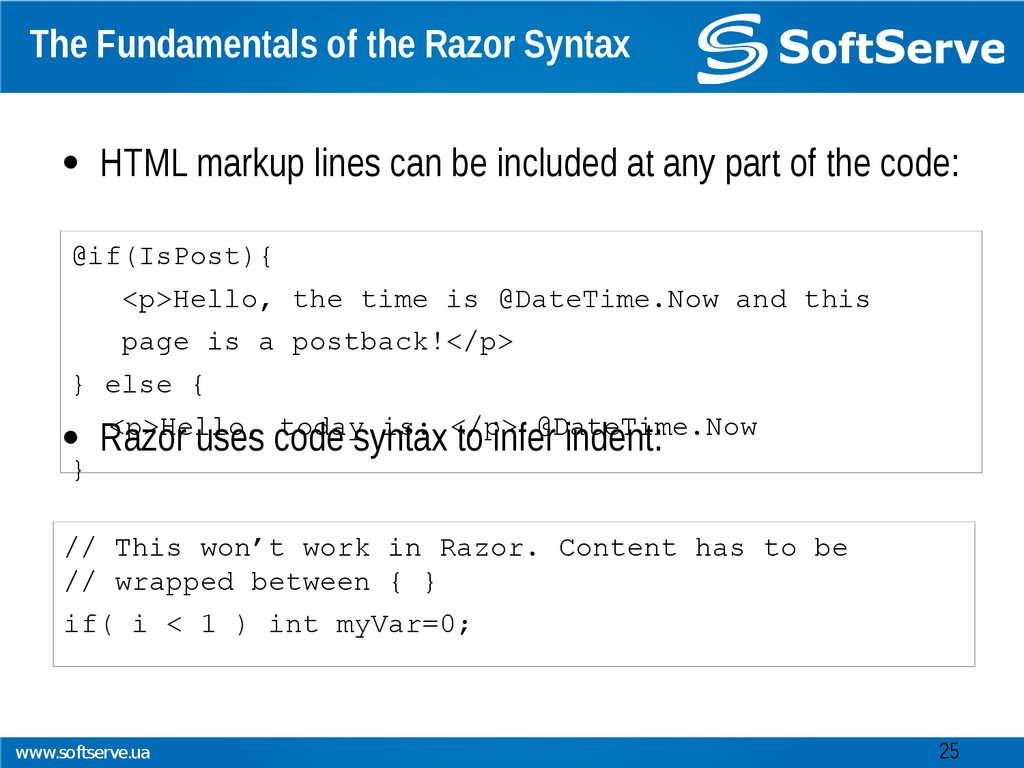 The Fundamentals of the Razor Syntax