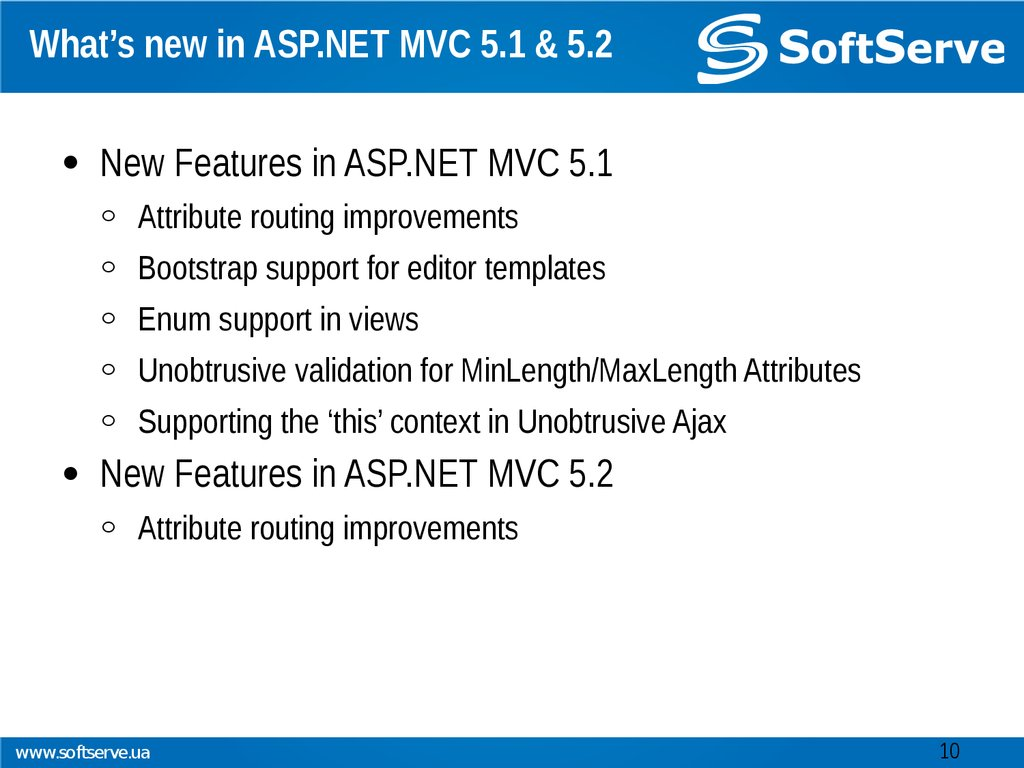 What's new in ASP.NET MVC 5.1 & 5.2