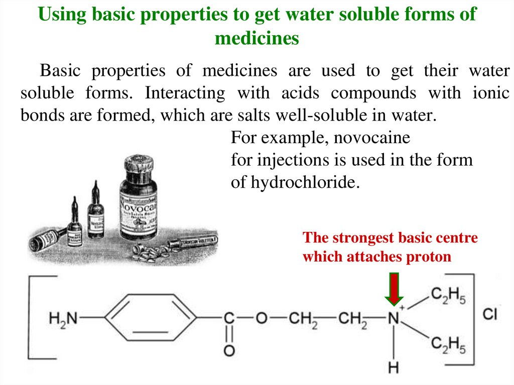 Using basic properties to get water soluble forms of medicines