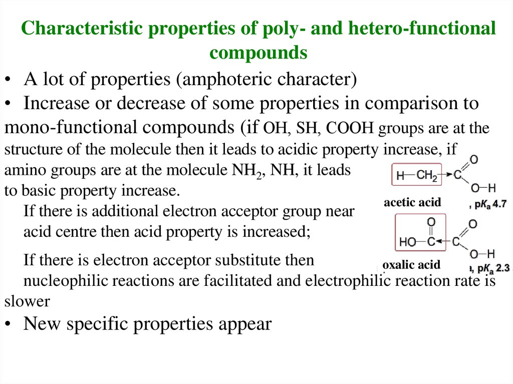 Characteristic properties of poly- and hetero-functional compounds