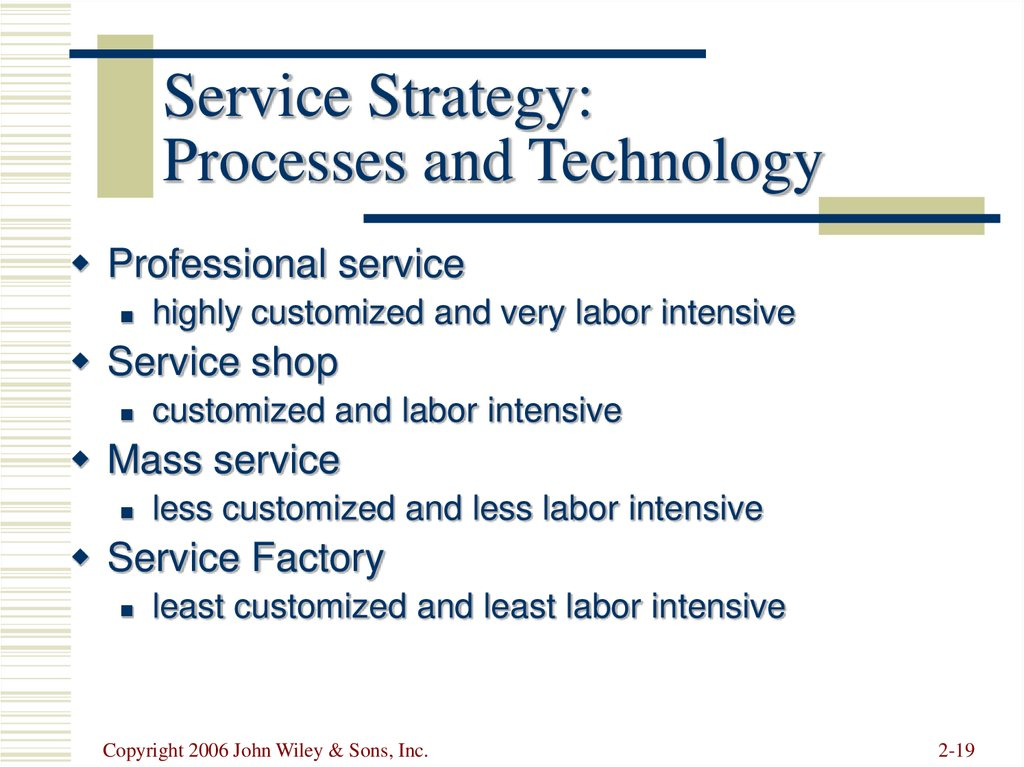 Service Strategy: Processes and Technology