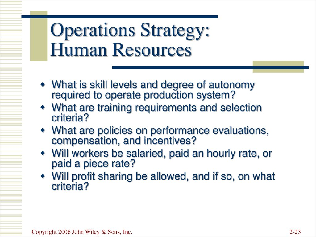 Operations Strategy: Human Resources