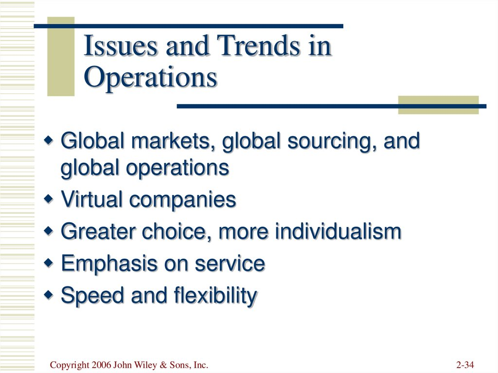Issues and Trends in Operations