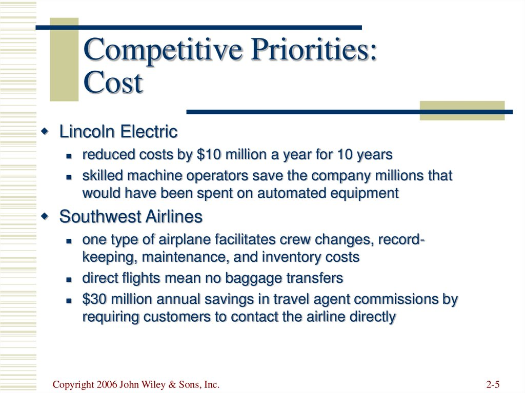 Competitive Priorities: Cost