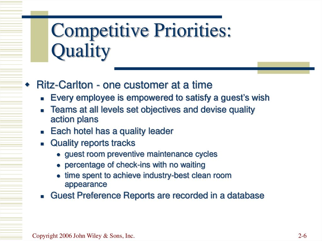 Competitive Priorities: Quality