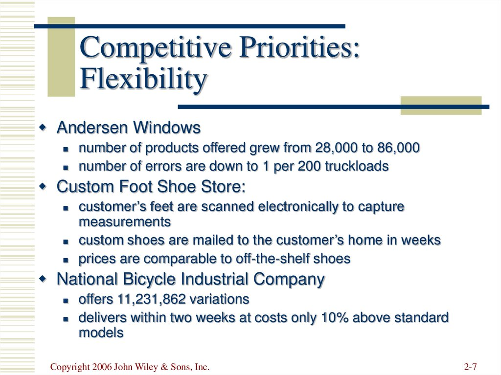 Competitive Priorities: Flexibility