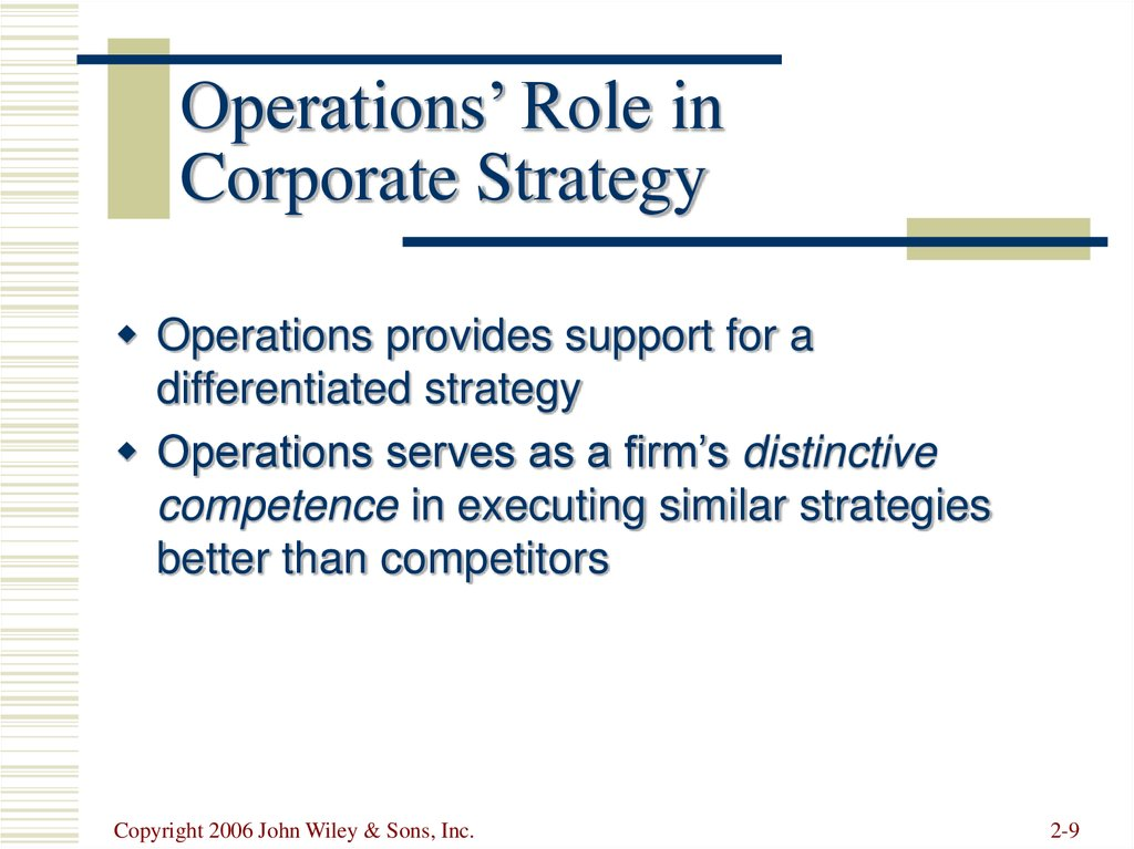 Operations' Role in Corporate Strategy