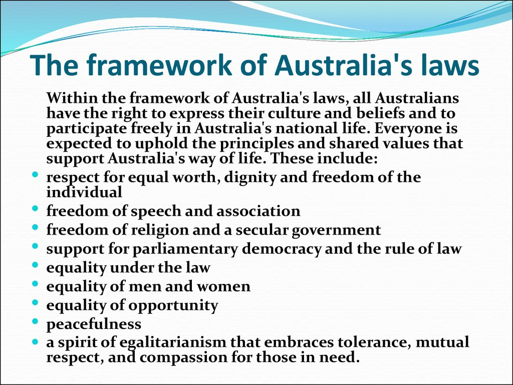 The framework of Australia's laws