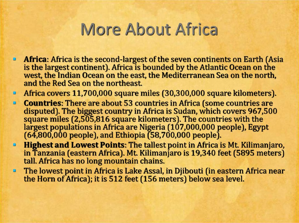 More About Africa