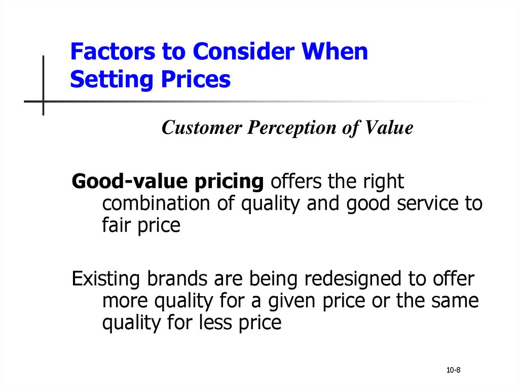 internal factors considered when setting prices