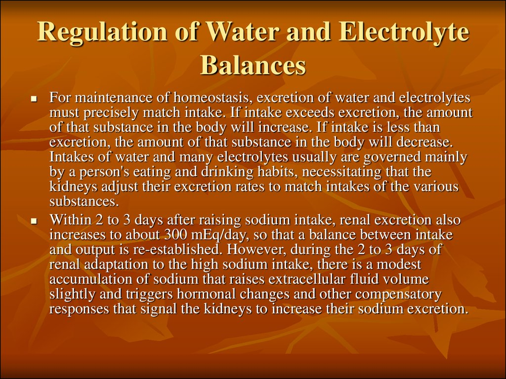Regulation of Water and Electrolyte Balances