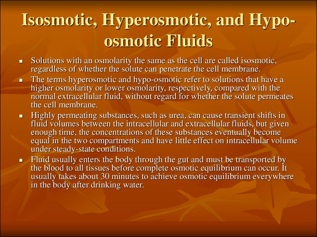 Isosmotic, Hyperosmotic, and Hypo-osmotic Fluids