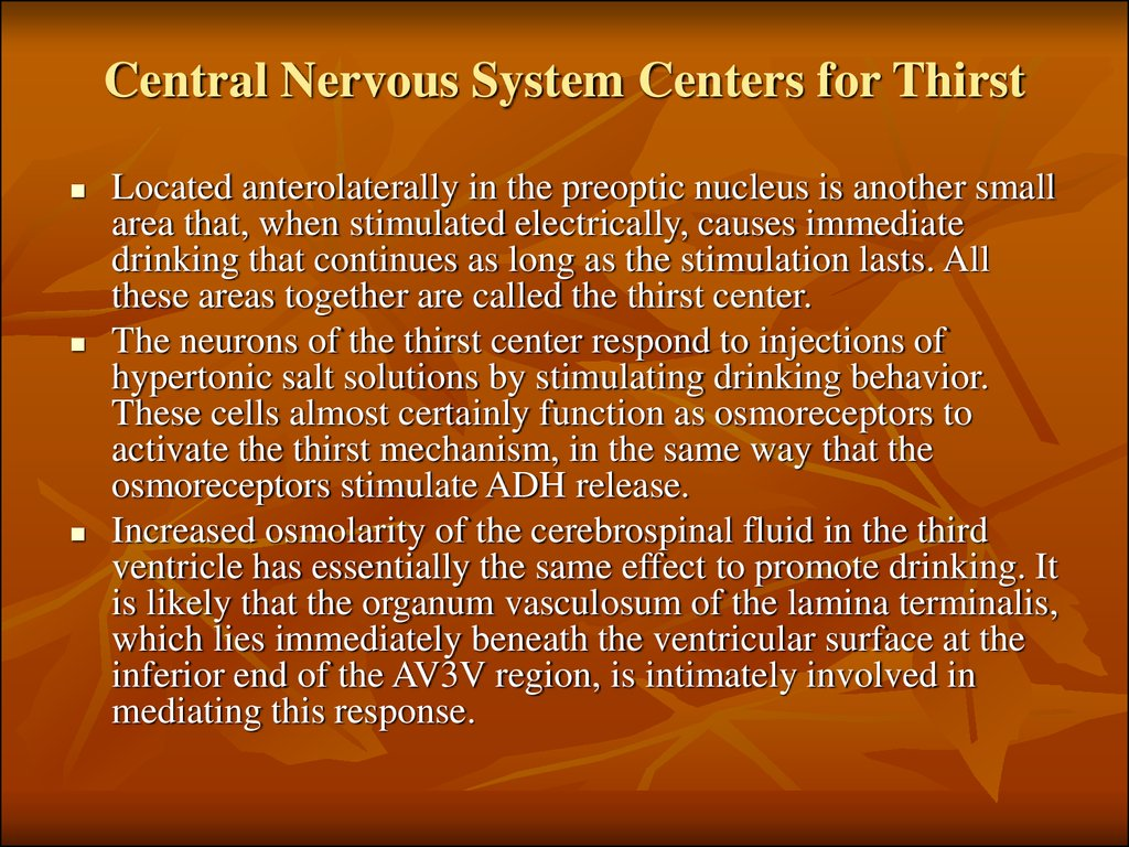 Central Nervous System Centers for Thirst