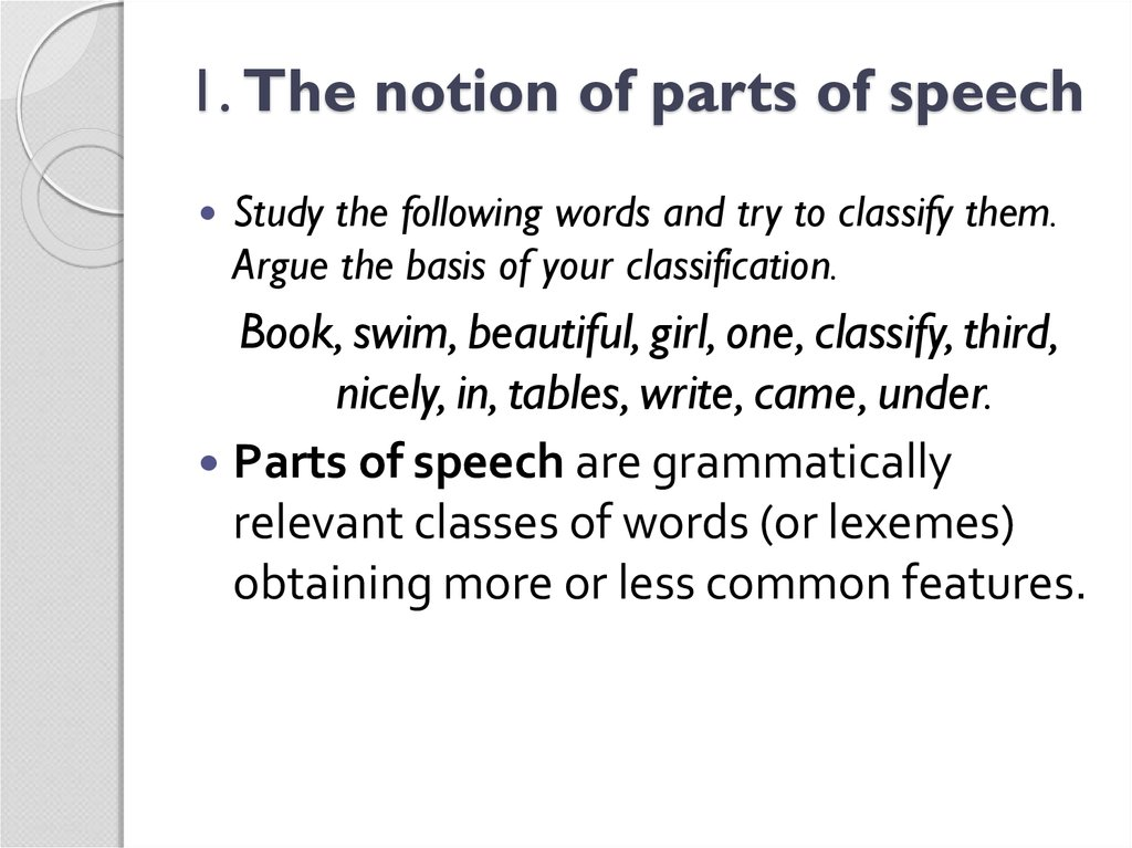 1. The notion of parts of speech