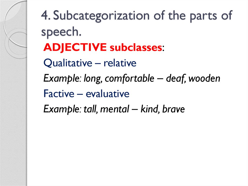 4. Subcategorization of the parts of speech.