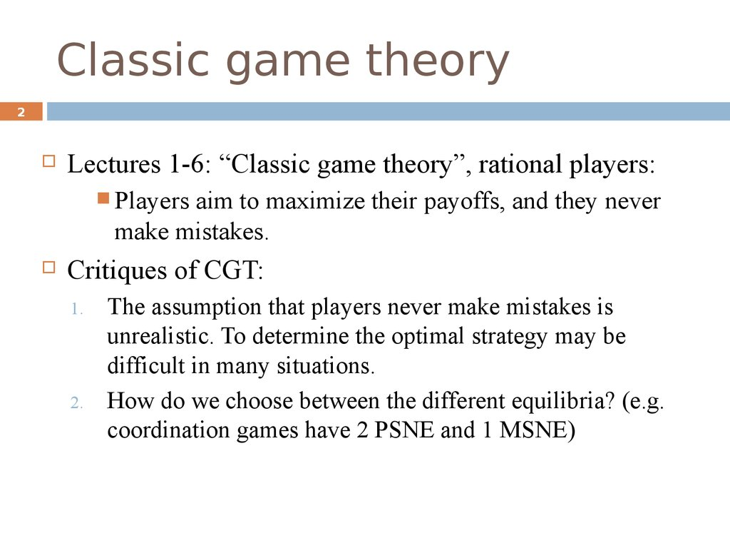 Classic game theory