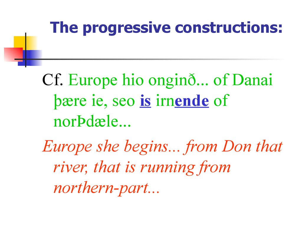 The progressive constructions: