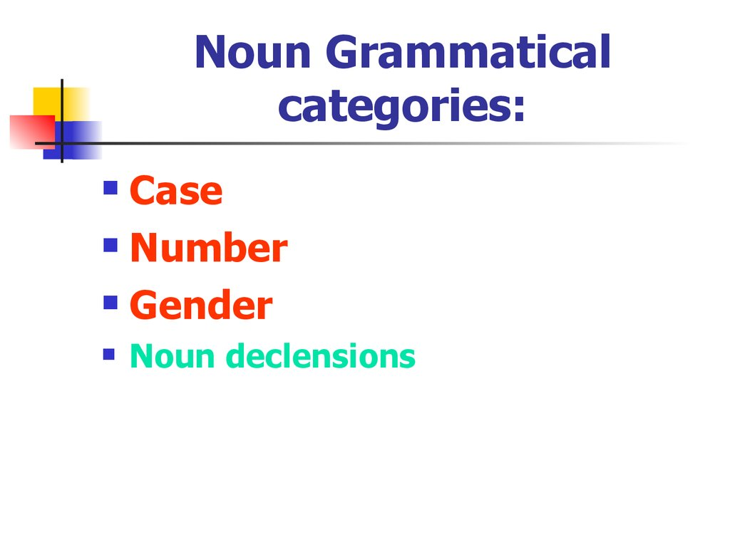 Noun Grammatical categories:
