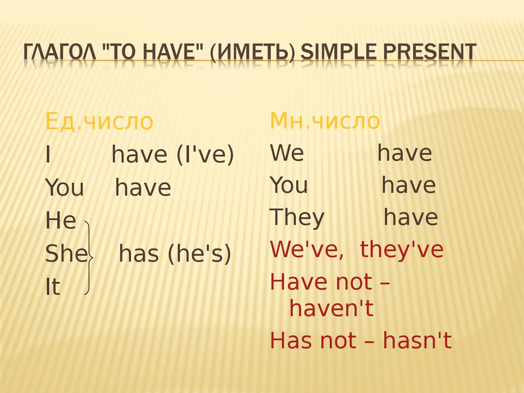 "Глагол ""to have"" (иметь) Simple Present"