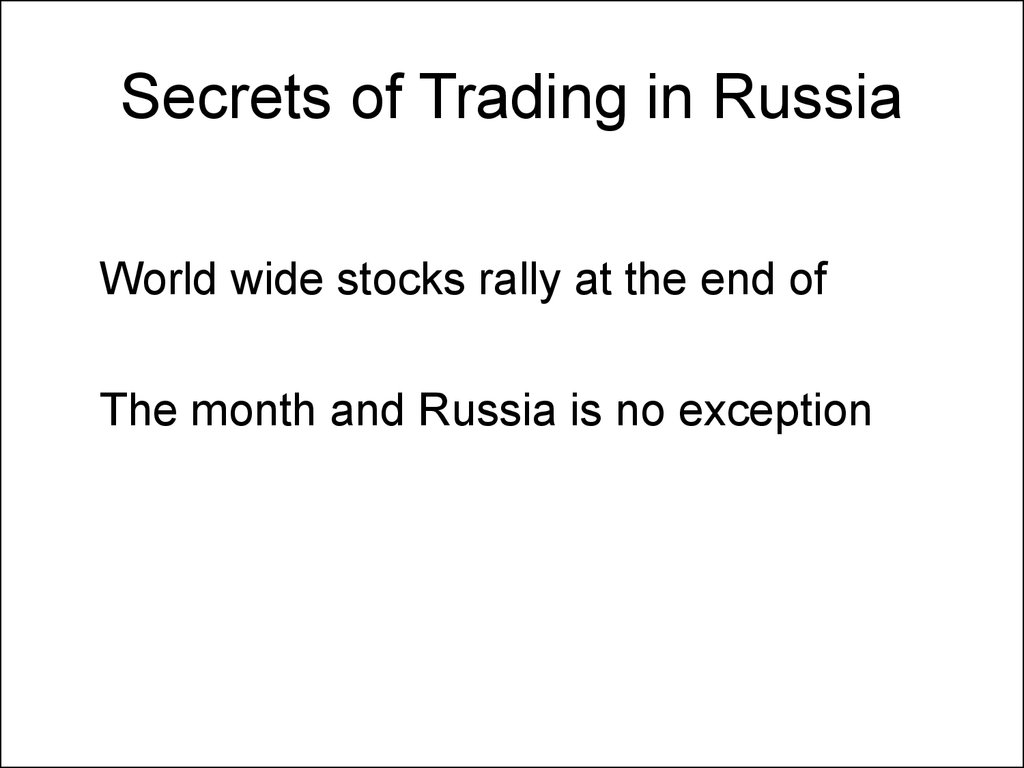 Secrets of Trading in Russia