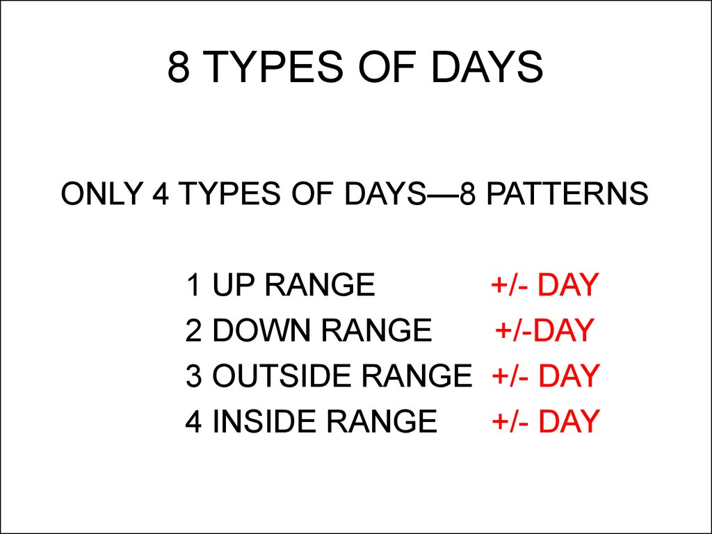 8 TYPES OF DAYS